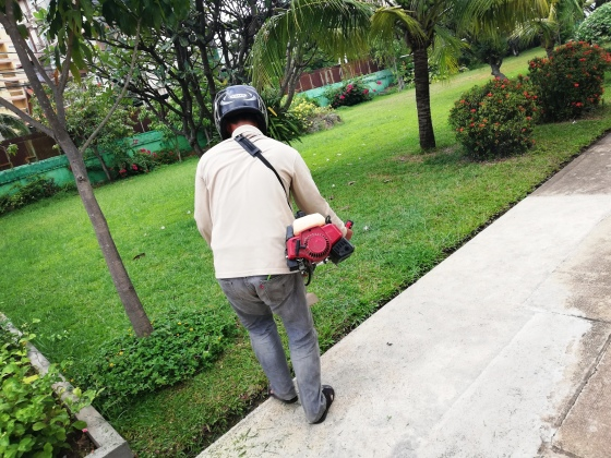 A Cambodian man gardening