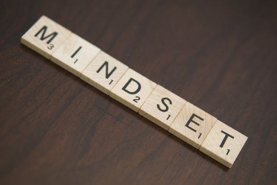 A scrabble game showing the word mindset