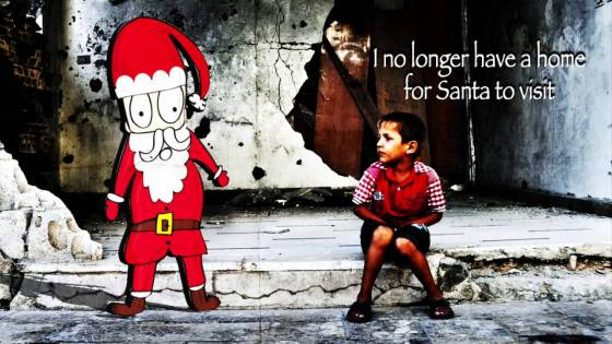 A Christmas image of a sad child who no longer has a home for Santa to visit