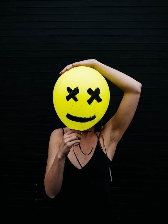 Sad smiley on a girl's face